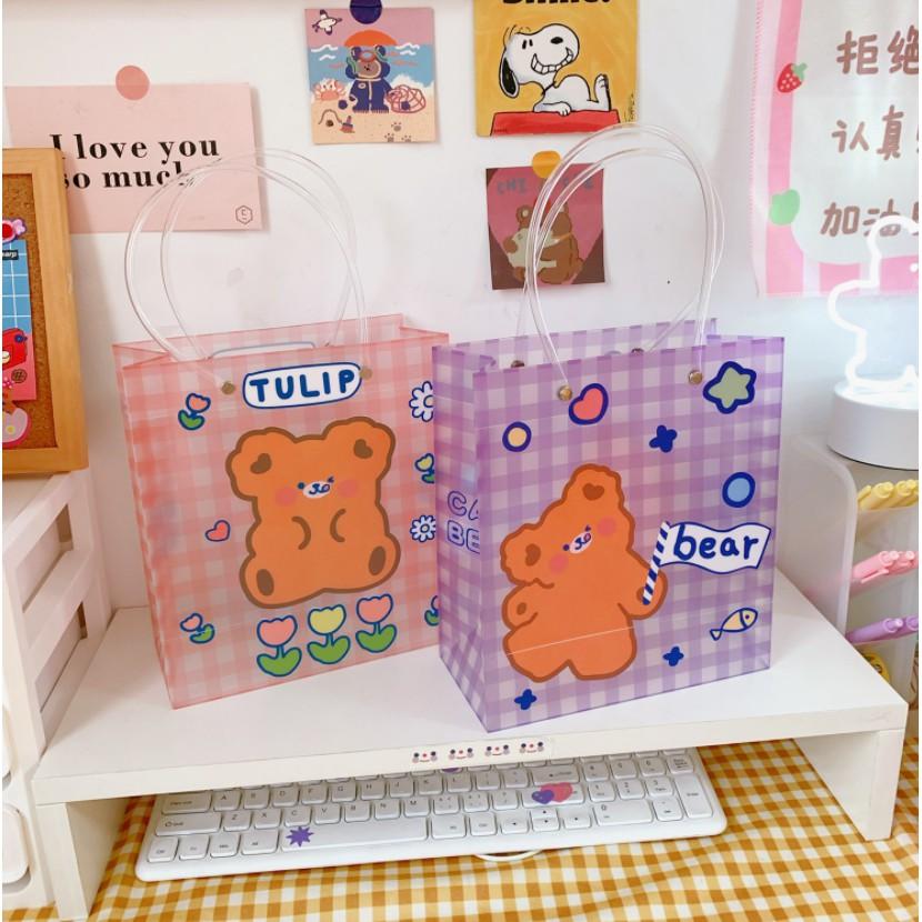 Túi đựng quà hình cute dễ thương - giỏ đựng đồ nhựa PVC trong cao cấp dùng được nhiều lần