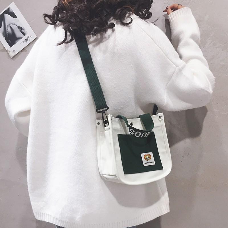 Túi Vải Canvas Đeo Chéo Vai Thiết Kế Năng Động Phong Cách Hàn Quốc 2020 Cho Nữ