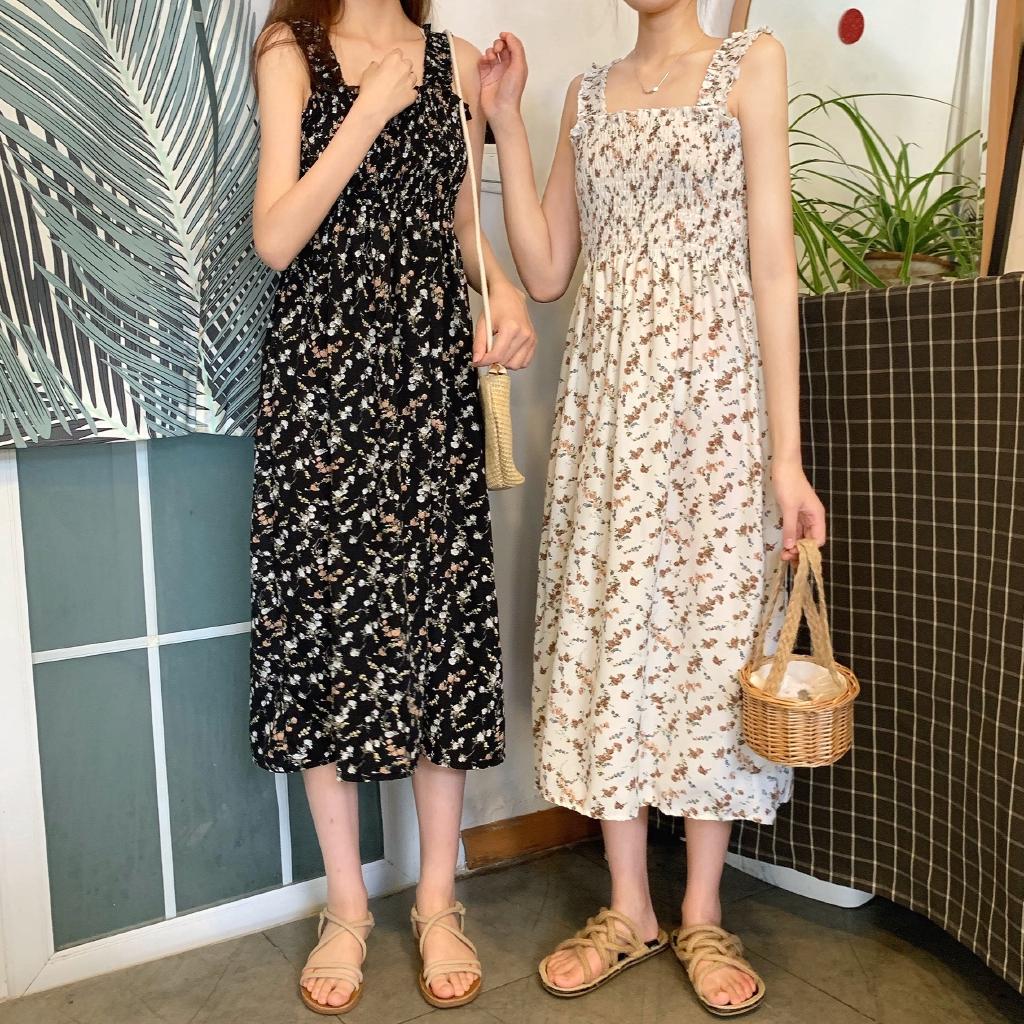 Casual new Korean fashion retro floral strap dress