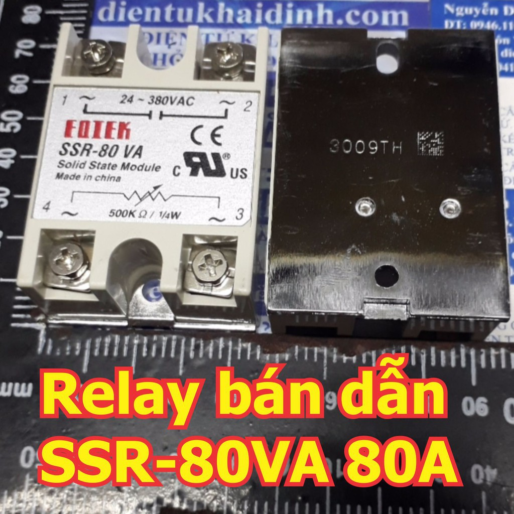[CỰC ĐẸP] Relay bán dẫn, Solid state Relay SSR-80VA OUT: 24-380VAc 80A, IN: 500KOhm, 1/4W  kde5409