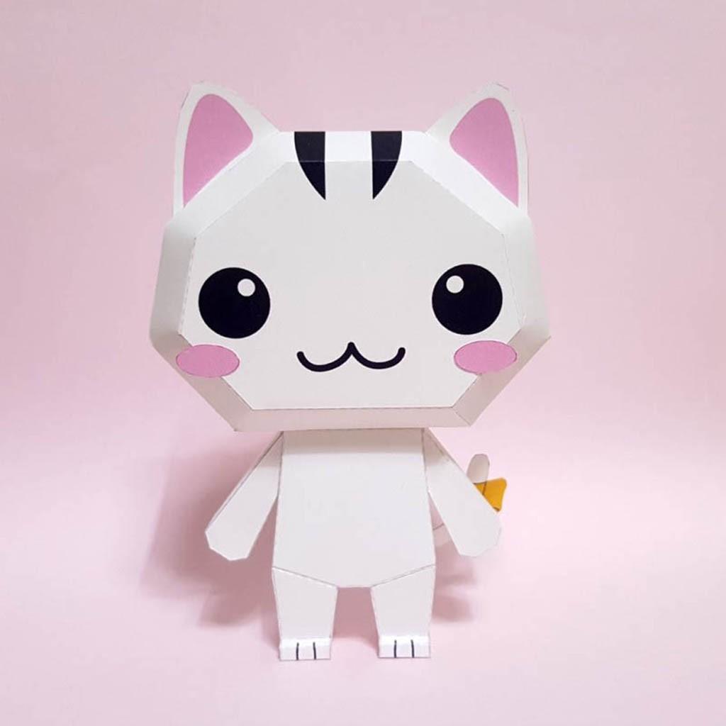 Mô hình giấy đồ chơi động vật chibi Mèo cute giá cạnh tranh