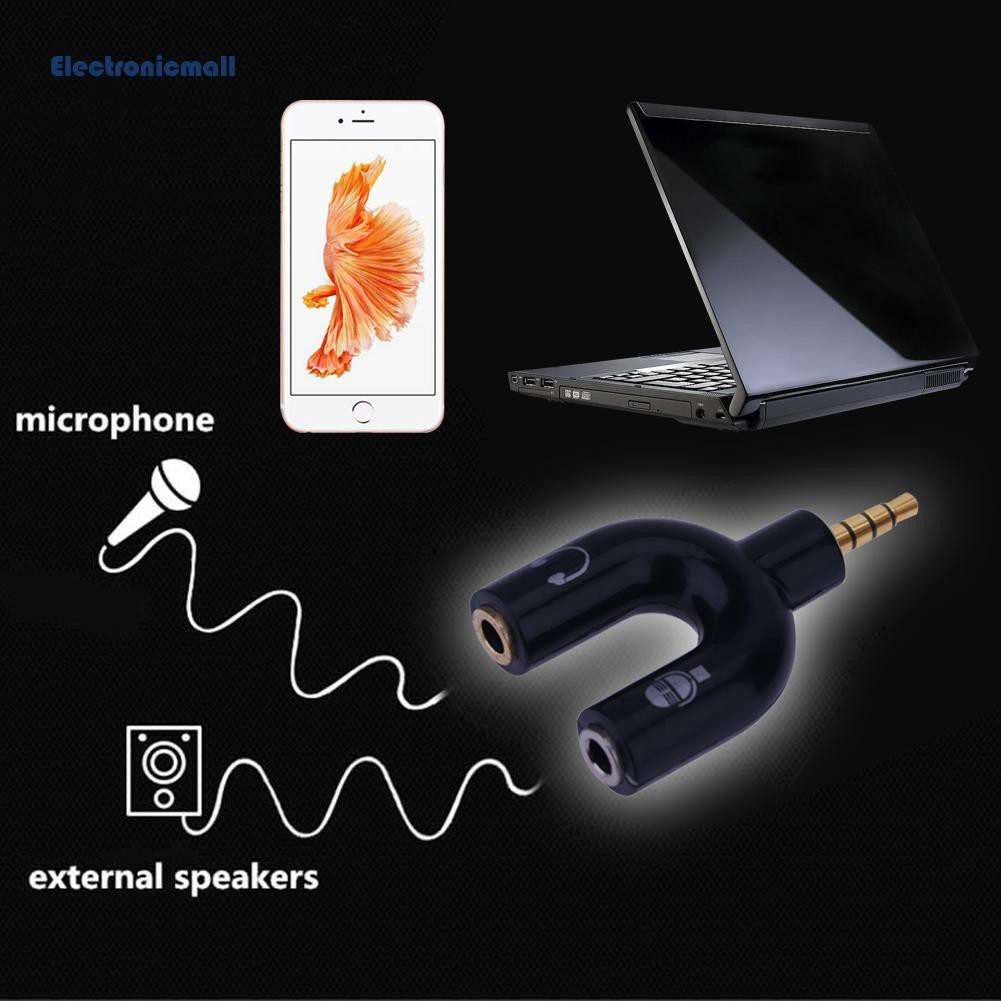 💯Ele💯3.5mm Stereo Audio Jack Earphone Headphone 2 Way U Splitter Adapter
