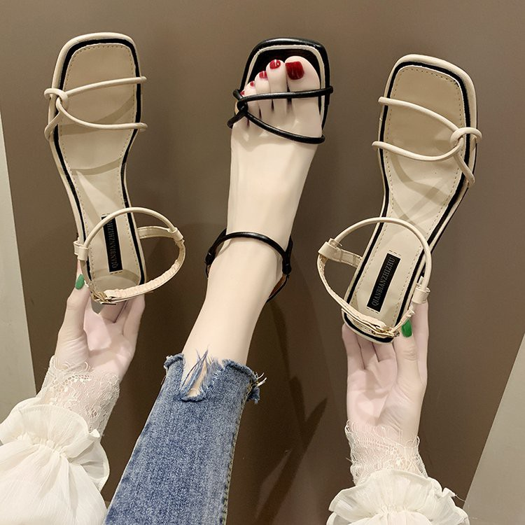 Thick heel sandals women's wild fashion women's shoes sexy word with high heels