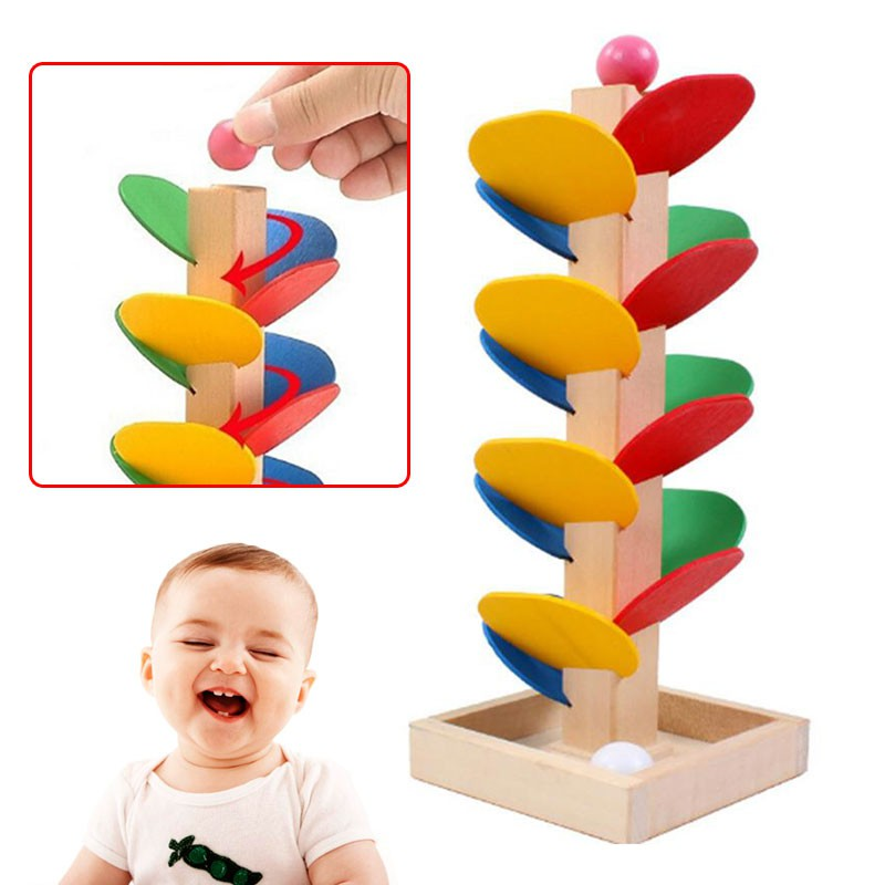 Wooden Spiral Ball Game Tree Leaves Tower Build Toy Educational Kid Child Baby