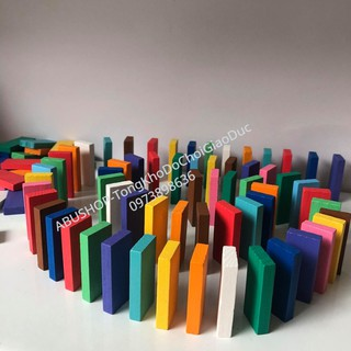 Đồ Chơi Domino Gỗ – Set Bộ Domino Gỗ Cho bé 120 chi tiết nhiều màu sắc – Phát Triển Trí Tuệ