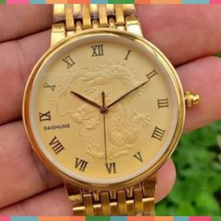 Đồng hồ cặp đôi nam nữ Baishuns mặt vàng họa tiết rồng bay phượng múa dây xích kim loại mạ vàng thumbnail