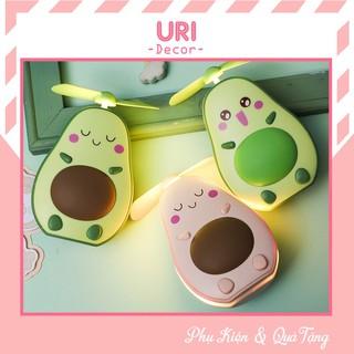 Quạt USB, quạt điện cầm tay mini 3 trong 1 kèm cáp sạc, đèn led và gương họa tiết quả bơ dễ thương URI DECOR