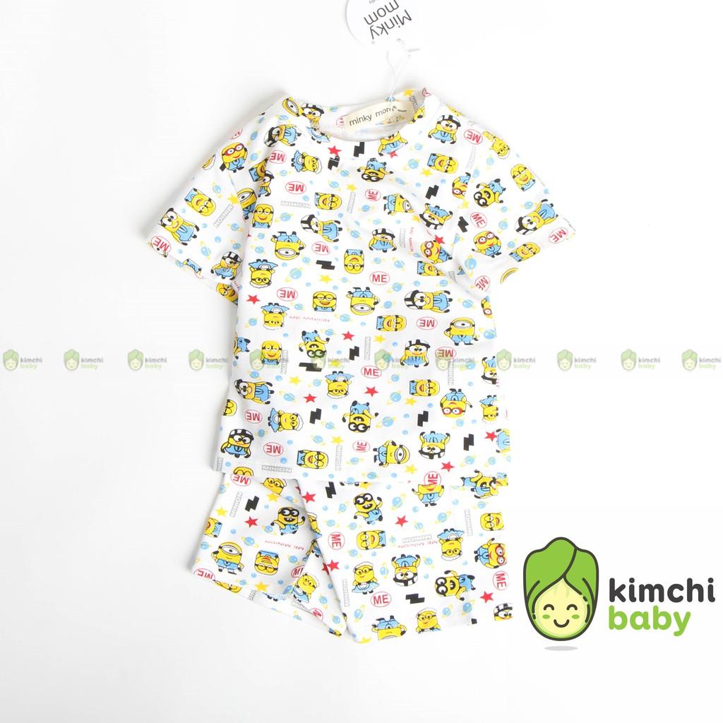 Đồ Bộ Bé Trai Minky Mom Vải Cotton 100% Họa Tiết Khủng Long Minion, Bộ Cộc Tay Cho Bé Mặc Nhà Mùa Hè MKM2120