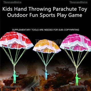 ThousandVoice☮2Pcs Hand Throwing Kids Play Parachute Toy Soldier Outdoor Sports Children Toy