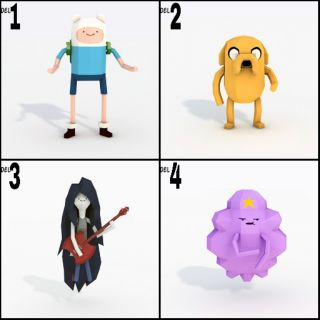 Mô hình giấy [Adventure Time]Finn,Jake,Marceline,Lumpy Space Princess(LSP)