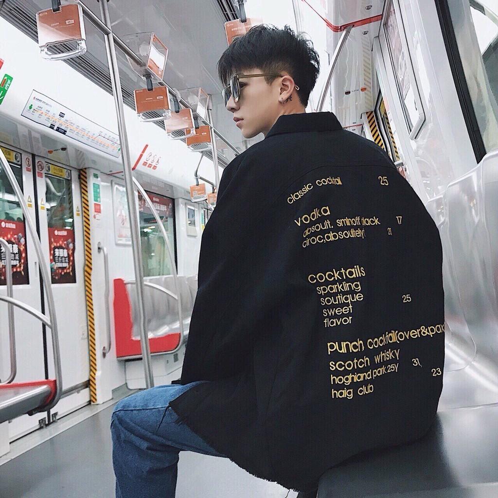 Áo khoác jean nam in chữ cực chất