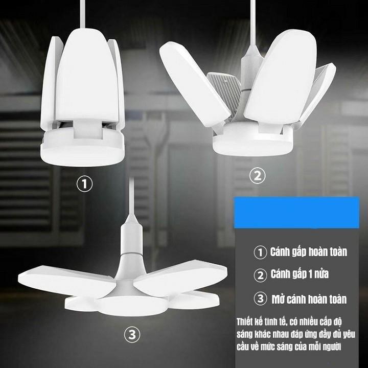 Đèn Led 4 Cánh Quạt Xếp Chuẩn 60W Siêu Sáng Đui Đèn E27, Tiết Kiệm 50%- 70% Điện Năng Tiêu Thụ