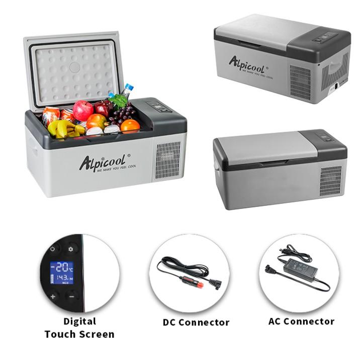 Tủ lạnh mini dùng trong nhà và trên ô tô nhãn hiệu Alpicool C15 dung tích 15lít, công suất 45W