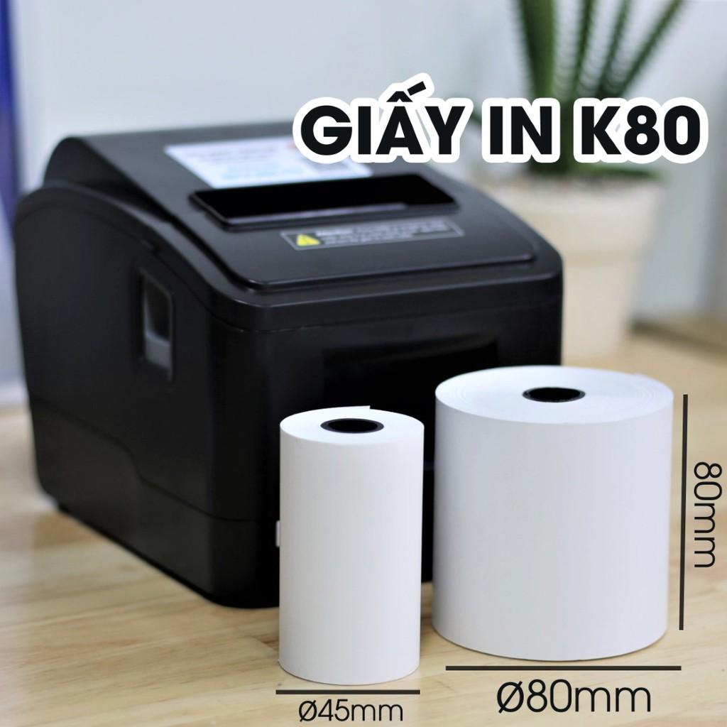 Giấy in Hóa Đơn in Bill K80 K80x45 - Giấy in nhiệt khổ 80mm - dùng cho máy POS bán hàng