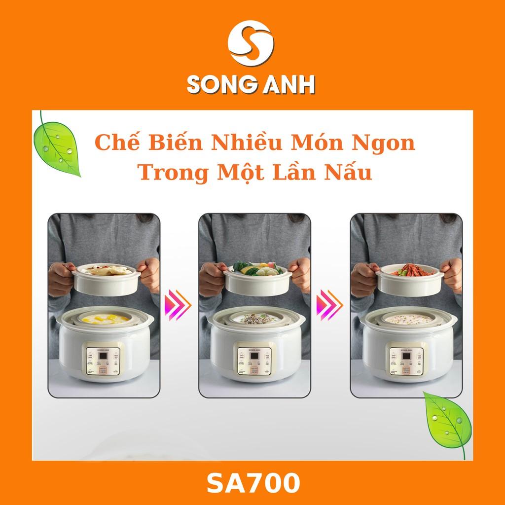 Nồi Nấu Cháo Chậm, Nồi Ninh Hầm Chưng Yến Cách Thủy 1.5L Song Anh Cao Cấp