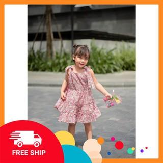 Váy đầm bé gái ⚡CỰC HOT⚡ Váy 2 dây hoa nhí dáng xoè phối nơ cho bé gái, mẫu thiết kế độc quyền, chất lượng cao