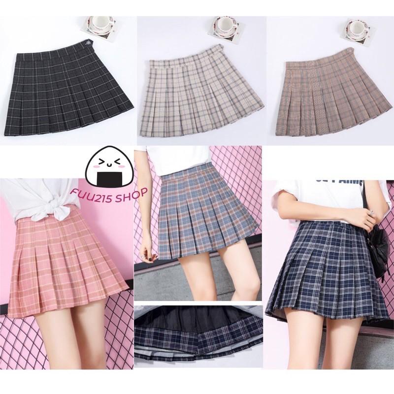 Chân váy tennis kẻ caro xếp ly dáng chữ A có size to phong cách JK nữ sinh Nhật Bản bigsize ulzzang Hàn Quốc