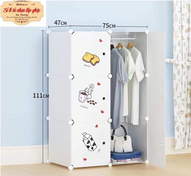 Tủ nhựa ghép- tủ quần áo đa năng - tủ nhựa- tủ 6 ô đựng quần áo. tặng kèm 1 treo quần áo tiện ích.