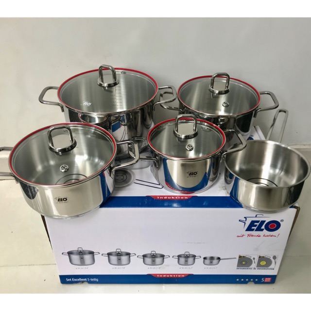 Bộ 5 Nồi Inox 304 Đức ELO PREMIUM EXCELLENT EL-09 MODEL 2018 NEW - 3513193 , 1128534813 , 322_1128534813 , 3890000 , Bo-5-Noi-Inox-304-Duc-ELO-PREMIUM-EXCELLENT-EL-09-MODEL-2018-NEW-322_1128534813 , shopee.vn , Bộ 5 Nồi Inox 304 Đức ELO PREMIUM EXCELLENT EL-09 MODEL 2018 NEW