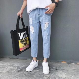 Setsuna.Sora – Quần Jeans xanh rách Nam nữ #889