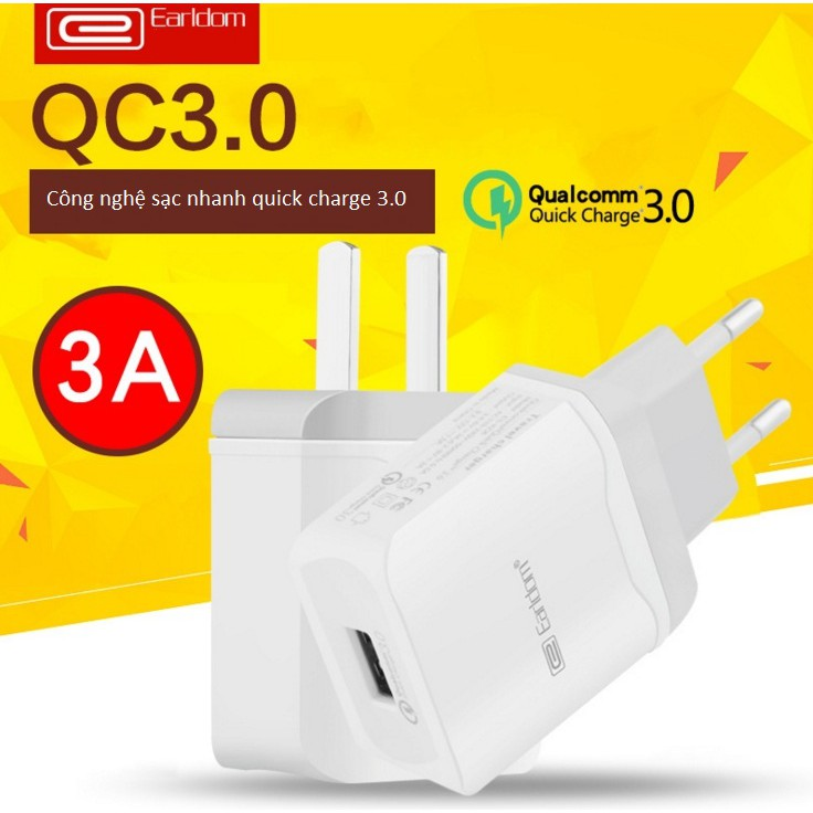 Củ sạc 3A Earldom ES-KC15 Quick Charge 3.0 một cổng USB -dc2600 - 2626094 , 1031144513 , 322_1031144513 , 135000 , Cu-sac-3A-Earldom-ES-KC15-Quick-Charge-3.0-mot-cong-USB-dc2600-322_1031144513 , shopee.vn , Củ sạc 3A Earldom ES-KC15 Quick Charge 3.0 một cổng USB -dc2600