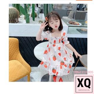 Váy quả dâu cho bé gái, đầm hè công chúa cộc tay siêu xinh điệu đà nữ tính của trẻ em – XQ Baby Kid