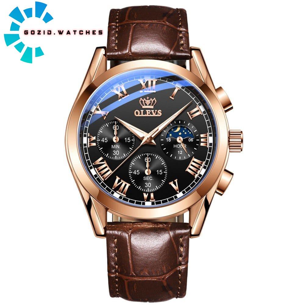 [HOT 2021] Đồng Hồ Nam dây da Olevs 2871 chính hãng chống nước , sang trọng ,đẳng cấp, chạy Full 6 kim-Gozid.watches