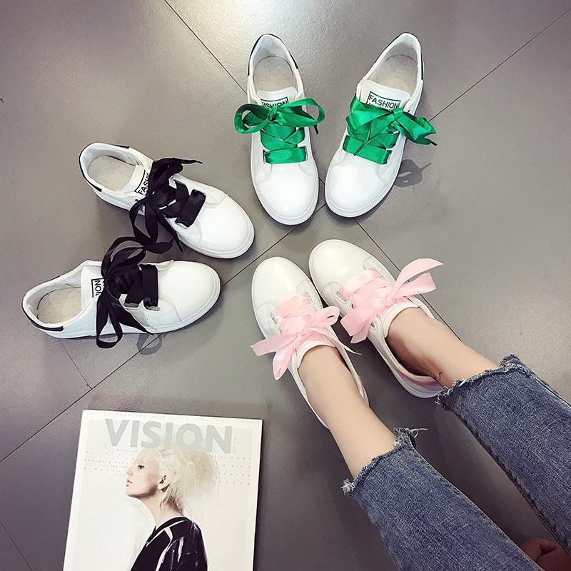 shopee คัดสรรรองเท้าสีขาวเพศหญิง 2 , 017 รองเท้ากีฬาฤดูใบไม้ผลิเกาหลี