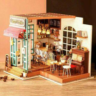 Mô hình nhà gỗ búp bê dollhouse DIY – DG109 Simon's Coffee