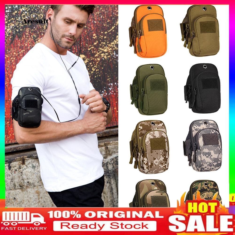 COD-Camouflage Outdoor Sport Running Mobile Phone Pouch Arm Bag with Earphone Hole