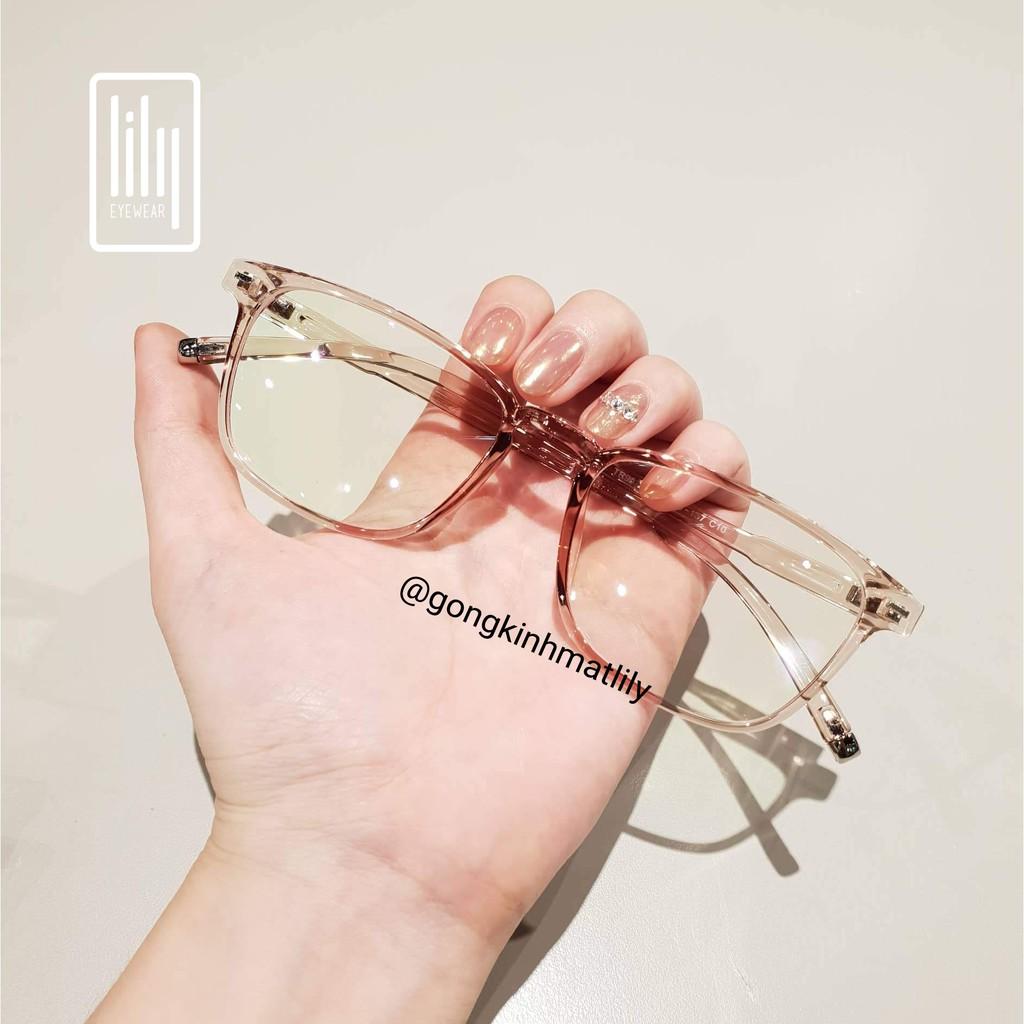 Gọng kính cận vuông nam nữ Lilyeyewear chất liệu nhựa dẻo phụ kiện thời trang 213