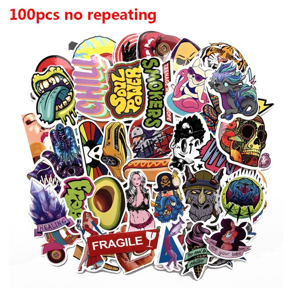100pcs/pack No Repeating Scrapbook DIY Craft Fridge Bicycle Luggage Decor Phone Laptop Luggage Sticker