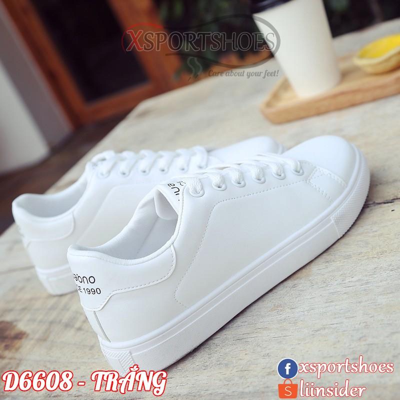 Giày thể thao nữ cổ thấp Since 1.9.9.0 - Giày sneaker trắng ulzzang da PU D6608