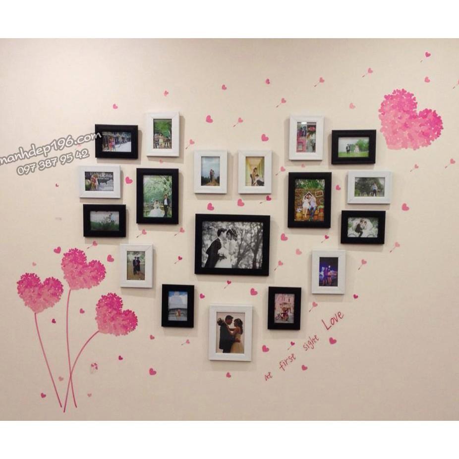 Ảnh thật Bộ 18 Khung ảnh trang trí phòng cưới kèm decal tim dán tường mã số 15