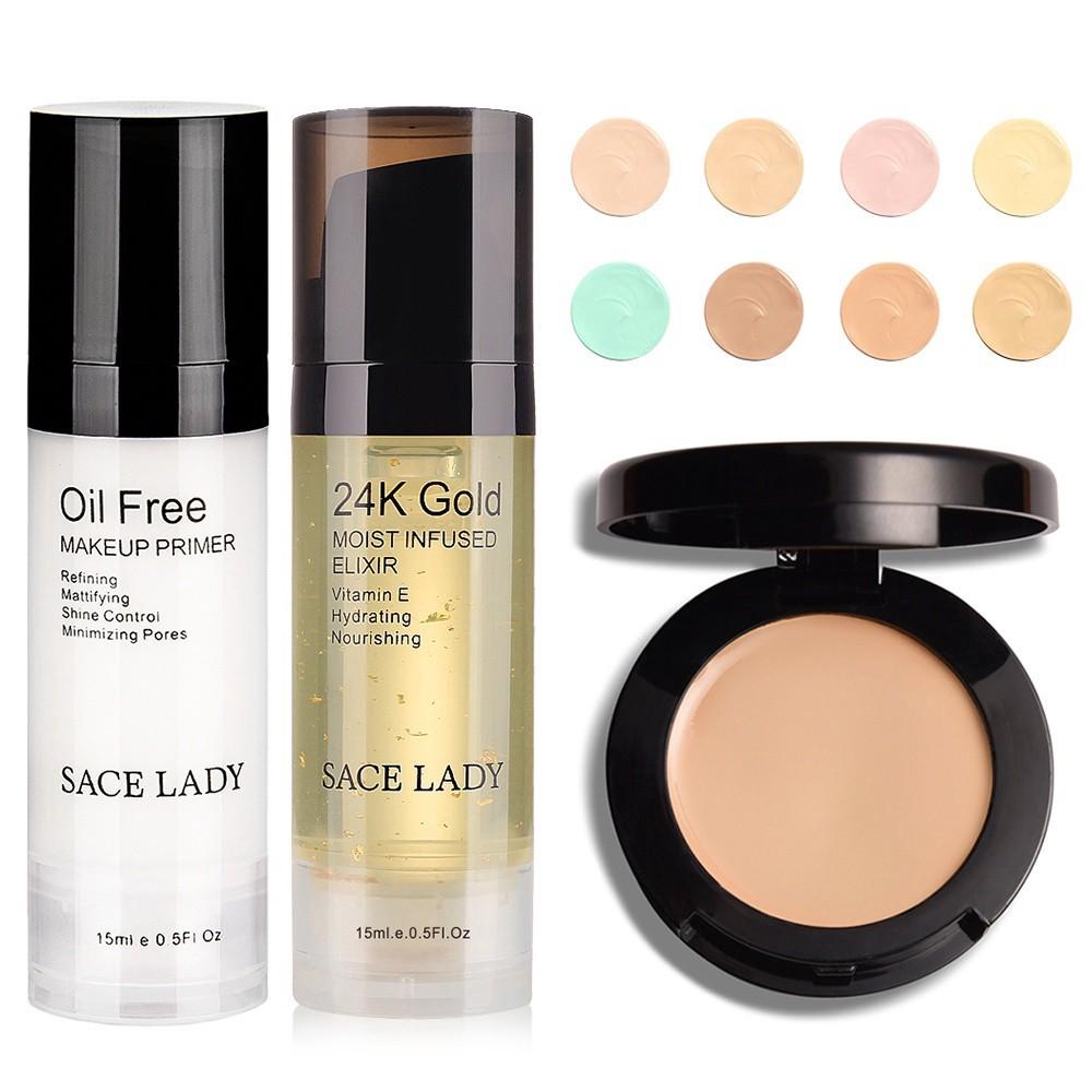 Set gel lót trang điểm kiểm soát dầu + gel dưỡng da vàng 24K + kem nền che khuyết điểm hiệu quả SACE LADY