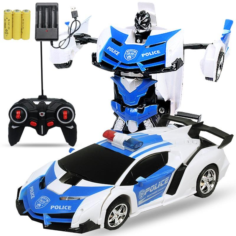 Đồ chơi xe ô tô điều khiển từ xa có thể biến hình thành robot (có sạc pin)