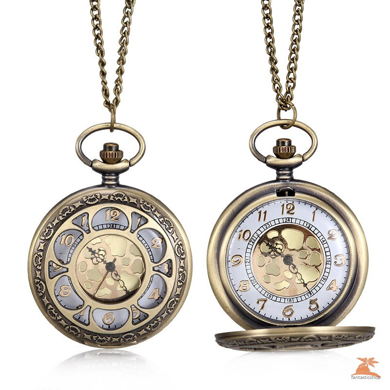 #Đồng hồ bỏ túi# 1pc Men Women Quartz Pocket Watch Floral Petal Carved Case with Chain