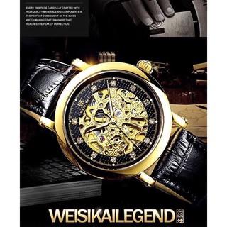Đồng hồ nam WEISIKAI siêu phẩm chính hãng dây da mặt lộ Cơ Máy kèm kim dạ quang + Tặng hộp đồng hồ sang trọng