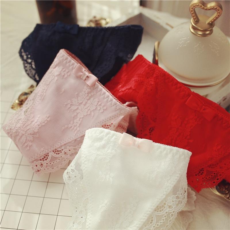 Quần Lót Cotton Phối Ren Đính Nơ Xinh Xắn Kiểu Retro Nhật Bản
