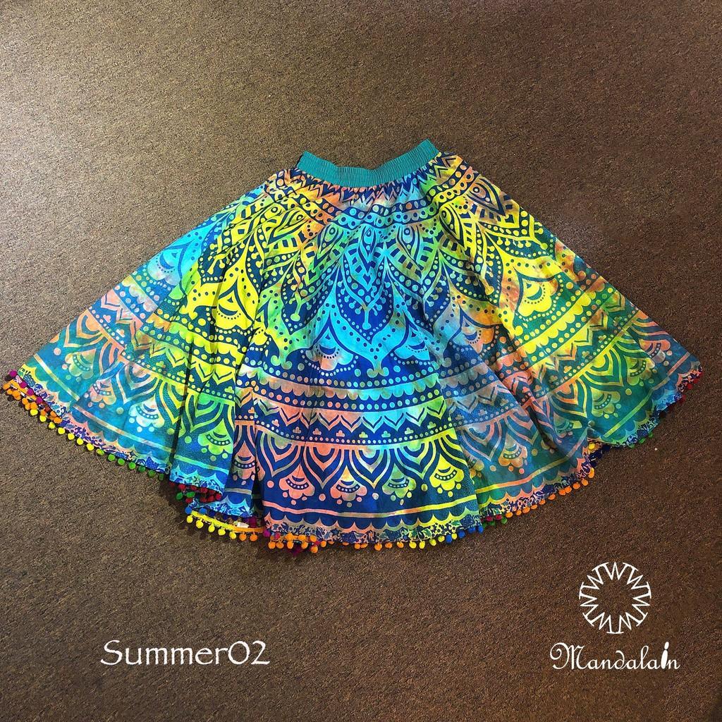 Chân váy xoè 360 độ nhập khẩu Ấn Độ 100% vải cotton thô hoạ tiết độc đáo