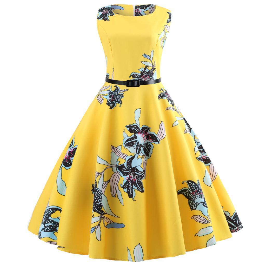 Đầm cổ tròn không tay họa tiết hoa tông vàng thời trang nữ