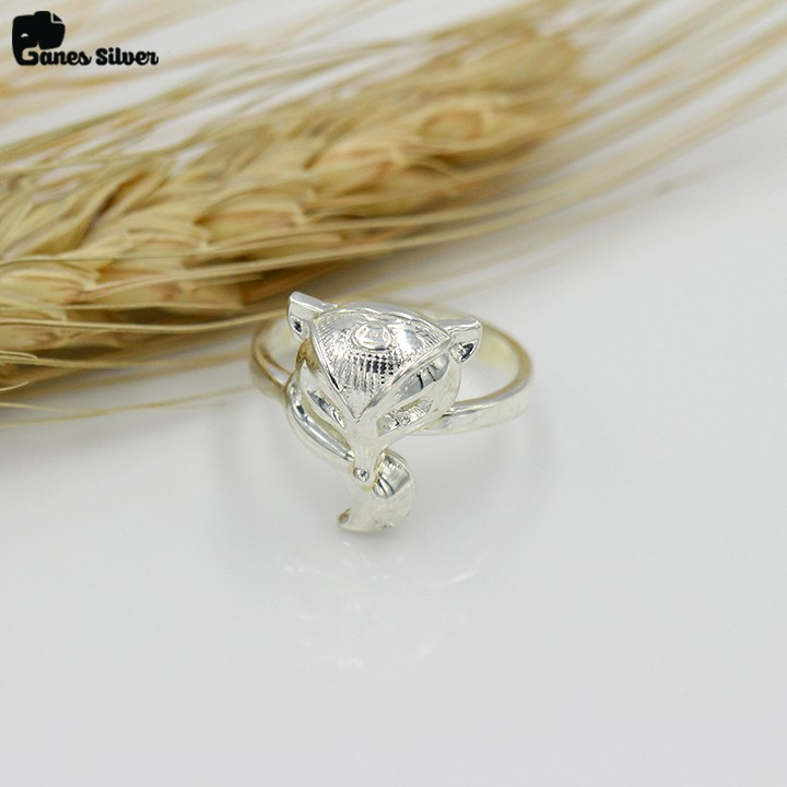 Nhẫn Bạc Nữ Hồ Ly Cute Chất Liệu Bạc Ta Cao Cấp - Thương Hiệu Ganes Silver