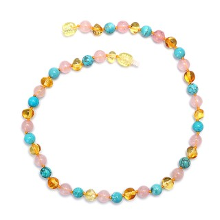 32 cm/12.60 Inch 100% Natural Amber Turquoise Teething Necklace Baby Gift