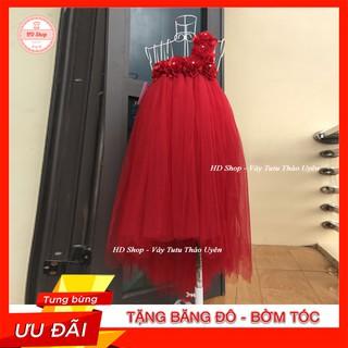 Váy đuôi cá ❤️FREESHIP❤️  Váy đuôi cá cho bé đỏ hoa hồng 6 bông cực đẹp cho bé gái 0 đến 5 tuổi