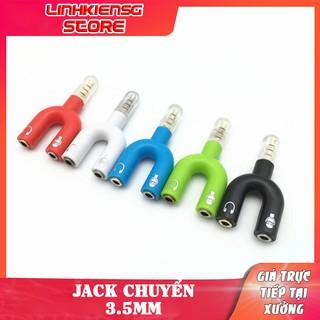 Jack CỤC chia chuyển 1 đầu 3.5mm ra 2 đầu jack loa và mic