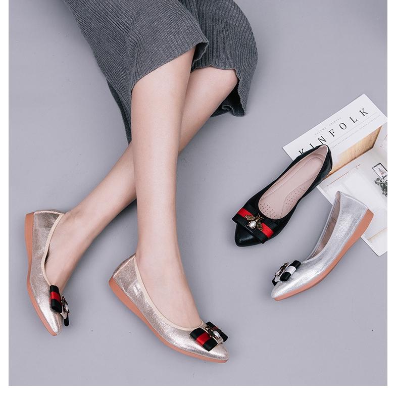Giày Búp Bê Mũi Nhọn Phong Cách Hàn Quốc Thanh Lịch Dành Cho Nữ