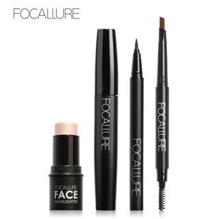 Bộ 4 mỹ phẩm trang điểm FOCALLURE gồm bút kẻ mắt + mascara + chì kẻ mày + kem bắt sáng đa năng