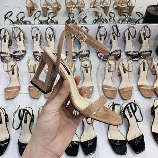 Sandal Nữ 💖FREESHIP💖 Giày Sandal Cao Gót 7 phân quai hậu DA BÓNG GÓT MỚI LẠ 2 màu