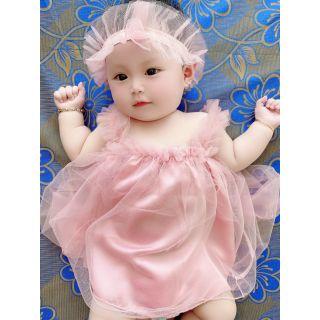 Đầm công chúa thôi nôi, đầy tháng, sinh nhật cho bé hồng xám cực dễ thương