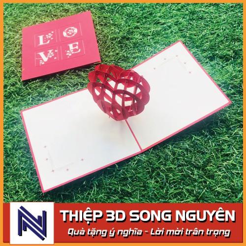 Thiệp 3D Song Nguyên, loại nhỏ 10x15cm,  siêu đẹp & dễ thương, làm quà tặng sinh nhật, bày tỏ tình yêu, lưu giữ kỷ